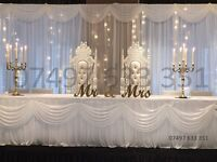 Wedding Decoration, Beautiful Starlight Backdrop, Chair Covers, Sashes, Runners, Vases, Table Covers