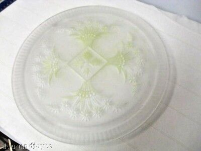 Older Footed Frosted Glass Cake Plate orSandwich Server-Lime Green Background