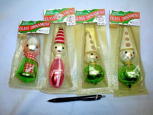4 VINTAGE HAND DECORATED GLASS CHRISTMAS ORNAMENTS~MADE IN COLUMBIA FOR KMART
