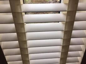 white wooden blinds with tapes brand new still in packaging