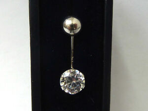 375 9ct Solid White Gold NEW Belly Bar with Cubic Zirconia Solitaire