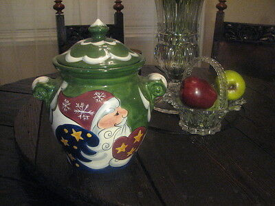 Christmas Holly Santa Cookie Jar Collections Hand Painted Tabletops