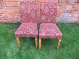 SET OF 4 FABRIC DINING CHAIRS WOOD FRAME, HIGH QUALITY