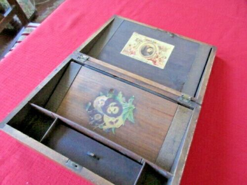 "VICTORIAN WRITING  LAP DESK 9"" X 11"" WOODEN w STORAGE FOR STATIONARY PEN & INK"