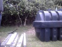 oil heating tank 1350 litre for sale and 6 concrete sleepers