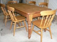 Farmhouse Pine Kitchen Table and Chairs