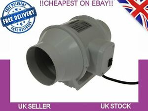 In line Mixed Flow 100mm Hydroponics Bathroom Extractor Fan With Timer