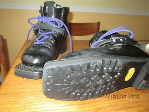 Leather boots for use with 3-pin bindings.