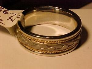 #3677- WOW 14k Gold ( 3 Colour) heavy Wedding band-Comfort Fit Weighs 11.31 grams of 14k-Size 10 1/2 FREE shipping