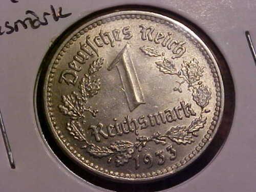 1933-F Germany 1 Reichs Mark AU+ KM#78 *Nice*