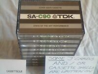TDK SA C90 CASSETTE TAPES GOOD USED COND, BEST= EARLY '80s STOCK. Many makes/types/lengths/pre's/new