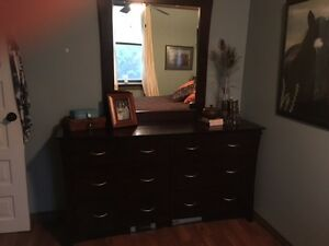 Dark cherry coloured bedroom set
