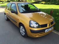 Renault Clio 1.2 16v Expression 3dr Manual,Low Mileage,Fresh MoT 2002 /43500 miles