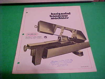 Vintage Industrial Machine Catalog No. 70 Kalamazoo Horizontal Bandsaw Machines