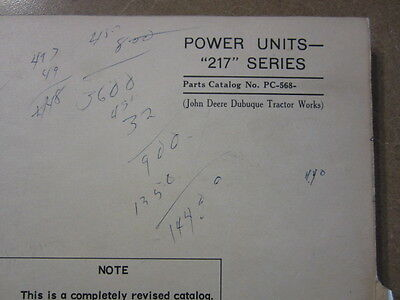 John Deere 217 Engine Power Units Parts Manual