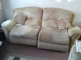 Gold 2 seater reclining sofa