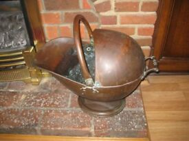 Complete Original Mid Victorian Hooded Helmet Coal/Log Scuttle.