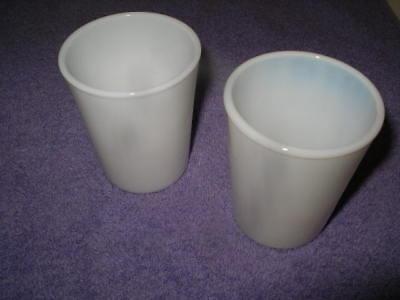 Pair of Vintage Opalescent Milk Glass Juice Tumblers!
