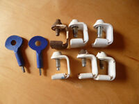 6 used Yale P-121 Window Stay Clamps and 2 Keys