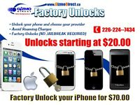 Factory Unlock starting at $19.00