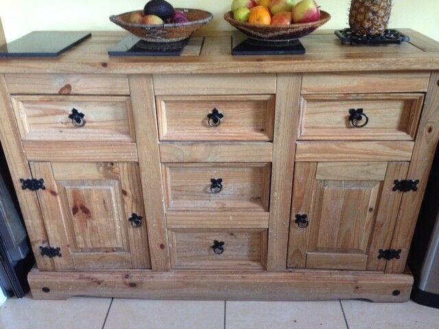 Corona solid pine wood sideboard, used