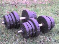 Dumbbell barbell Weights and Bars 56.7 lb's 22.8 kg approx