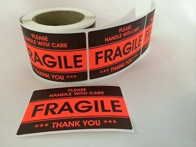 50 3.2x5.2 Fragile Stickers Handle With Carethank You Stickers Fragile Ship New