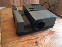 Slide projector, fold-up screen and slide cases