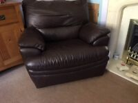Leather Sofa + Reclining leather Chair