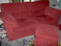THREE SEATER SOFA, WITH MATCHING FOOT STOOL, CLOTH MATERIAL