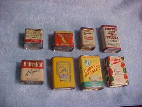 VINTAGE TINS FOR DECORATION SALT PETER, FRENCHS AND OTHERS