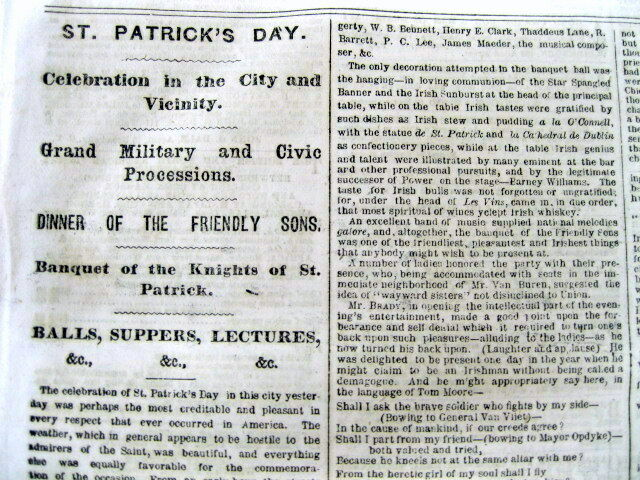 1863 NY newspaper w detailed Description ST PATRICKS DAY PARADE in NEW YORK CITY