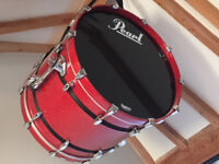 Immaculate 7 Piece Pearl Masters Birch Shell Drum Kit Complete With Cymbals In Red Sparkle