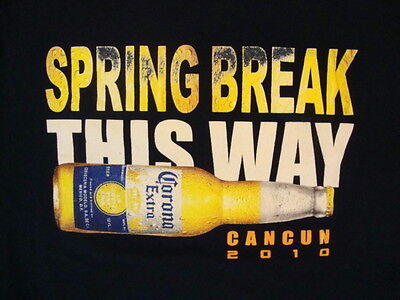 Corona Extra Spring Break This Way Cancun 2010 Beer Drink Navy T Shirt M
