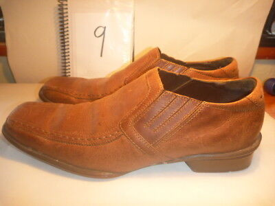 BURTON ATC SIZE UK 9 MENS BROWN LEATHER SHOES SLIP ONS