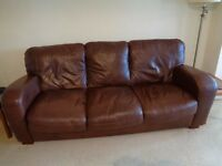 3 SEATER SOFA BROWN LEATHER/LEATHER effect settee suite