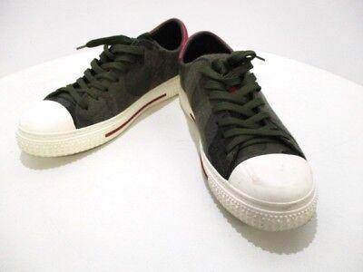 Auth VALENTINOGARAVANI Khaki DarkGreen Multi Chemical fiber &  Leather Sneakers