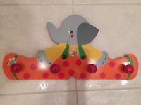 Children's elephant coat hooks