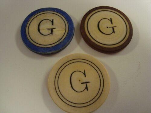 Circa 1880s Old West Monogram G Poker Chips – Set of 3