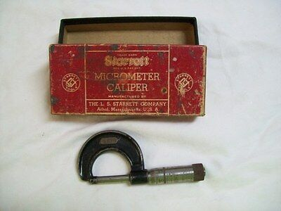 Vintage Starrett Micrometer Caliper 436-1 In. In Original Box
