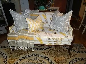 French Country Settee, Pottery Barn Pillows, Pier One Art, etc.