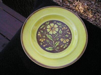 Metlox San Clemente Spanish Yellow Green Flowers Brown Rim Salad Plate 8927 ()