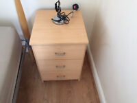 2 Bedside tables - both with 3 drawers in a light oak finish