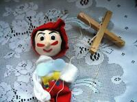 """11"""" WOODEN PINOCCHIO PUPPET MARIONETTE DOLL, CLOTHES"""