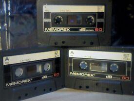 MEMOREX DB 60 (1985-1986) CASSETTE TAPES. 3 for £1.