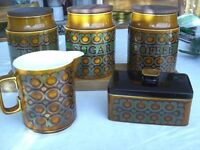 """Hornsea Bronte pattern Ware. 3 storage jars, Jug and Butter Dish."