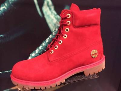 TIMBERLAND 6 Inch PREMIUM 40th Ruby Red FIRE Waterproof Suede Leather Snow BOOTS Red Waterproof Leather