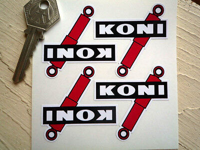 KONI Shaped Set of 4 Shock Absorber STICKERS 50mm Race Car Bike Racing Rally