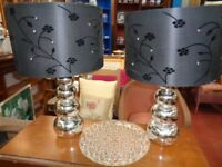 Table Lamps Black & Silver