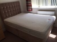 Small double divan bed with 2drawers and memory foam mattress